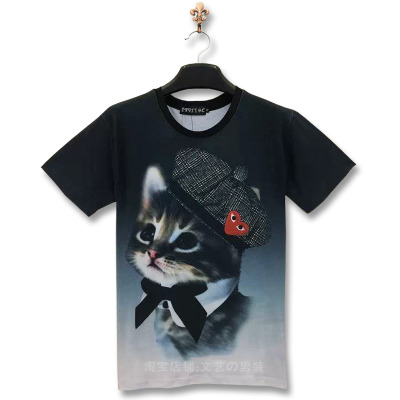 T-shirt 3D Chat Parisien - Ref 427